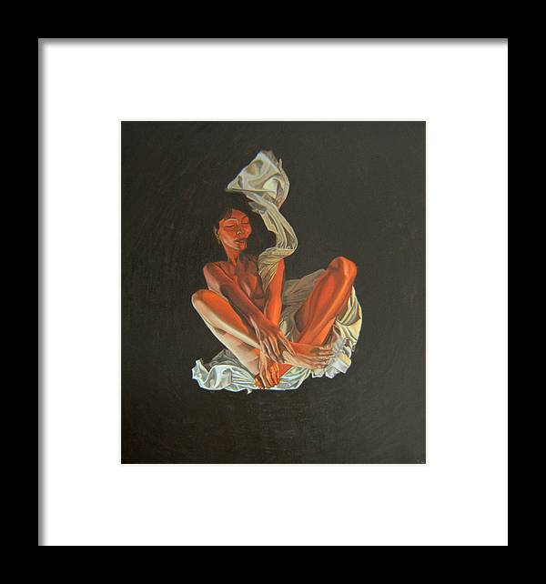 Semi-nude Framed Print featuring the painting 2 30 Am by Thu Nguyen