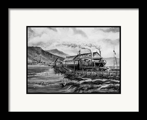 Train Framed Print featuring the painting A Day At The Seaside by Andrew Read
