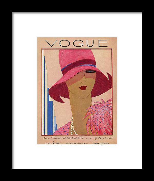 Illustration Framed Print featuring the photograph A Vintage Vogue Magazine Cover Of A Woman by Harriet Meserole