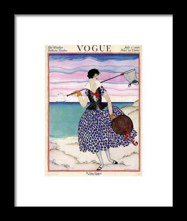Illustration Framed Print featuring the photograph A Vogue Magazine Cover Of A Woman by Helen Dryden