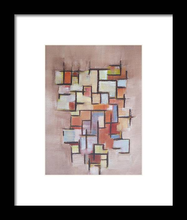 Abstract Framed Print featuring the painting Abstract Line Series by Patricia Cleasby