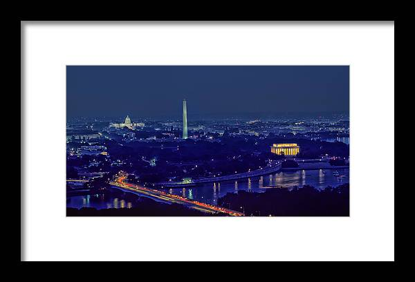 Aerial Night View Of Washington Dc Framed Print By Mountain Dreams