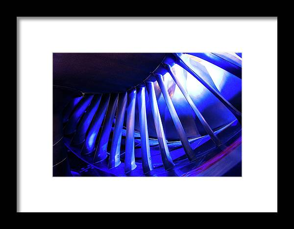 Commercial Framed Print featuring the photograph Aircraft Engine Fan Blades. by Mark Williamson