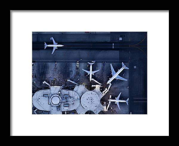Airport Terminal Framed Print featuring the photograph Airliners At Gates And Control Tower by Michael H