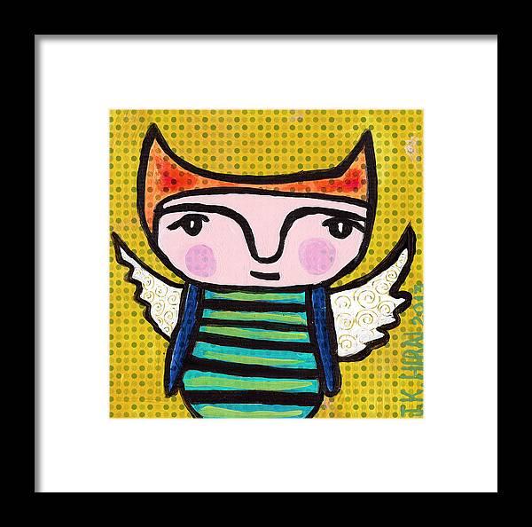 Art Framed Print featuring the painting Angel Boy #1 by Jen Kelly Hirai
