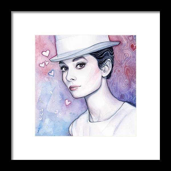 Audrey Framed Print featuring the painting Audrey Hepburn Fashion Watercolor by Olga Shvartsur