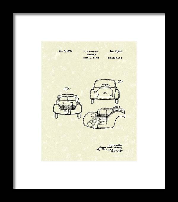 Buehrig Framed Print featuring the drawing Automobile 1935 Patent Art by Prior Art Design
