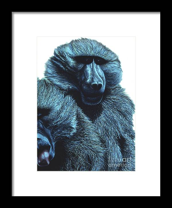 Apes Framed Print featuring the painting Baboons by Karen Wheeler