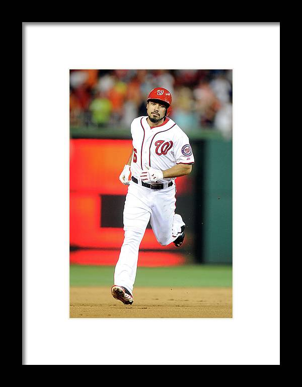 American League Baseball Framed Print featuring the photograph Baltimore Orioles V Washington Nationals 2 by Greg Fiume