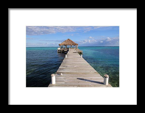 Belize Framed Print featuring the photograph Beach Deck With Palapa Floating In The Water by Brandon Bourdages