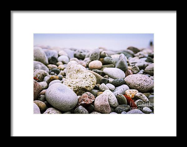 Rock Framed Print featuring the photograph Beach Pebbles by Elena Elisseeva