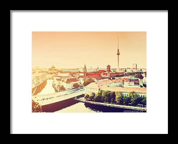 Berlin Framed Print featuring the photograph Berlin Germany View On Major Landmarks by Michal Bednarek