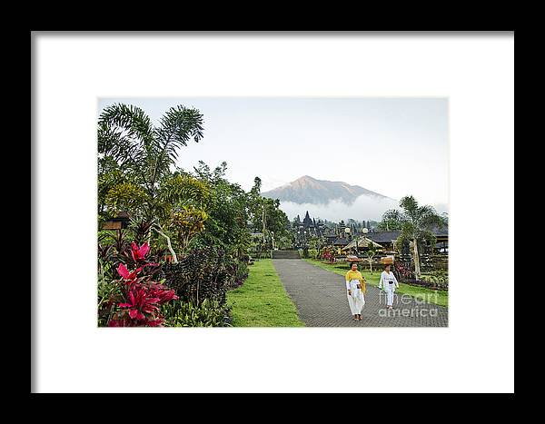 Agung Framed Print featuring the photograph Besakih Temple And Mount Agung View In Bali Indonesia by Jacek Malipan