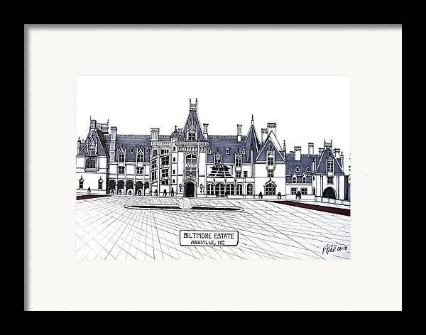 Ink Drawings Framed Print featuring the drawing Biltmore Estate by Frederic Kohli