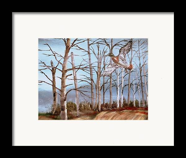 Birds Trees River Lake Landscape Painting Framed Print featuring the painting Birds Landing by Kenneth LePoidevin