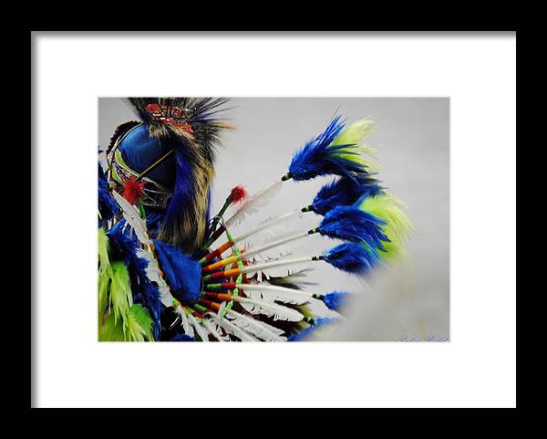 Native American Framed Print featuring the photograph Blue headdress by Paulina Roybal