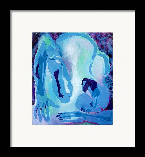 Nude Framed Print featuring the mixed media Blue Nude by Diane Fine