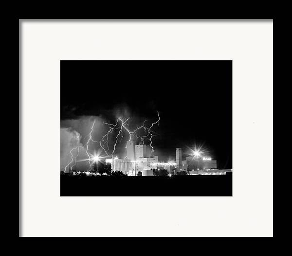 Lightning Framed Print featuring the photograph Budweiser Lightning Thunderstorm Moving Out Bw by James BO Insogna