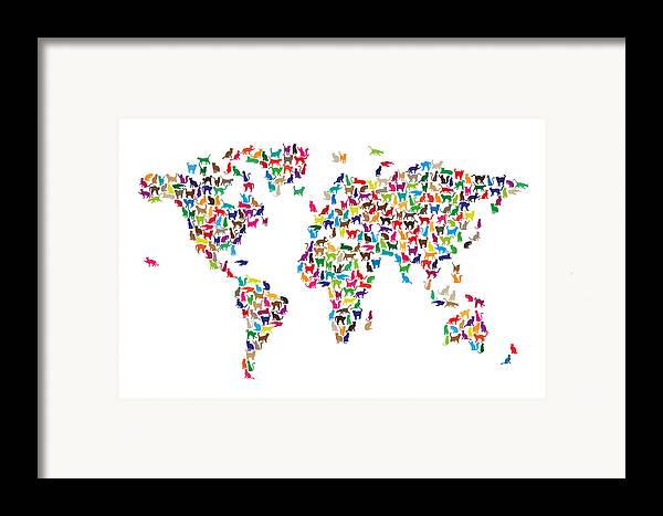 World Map Framed Print featuring the digital art Cats Map Of The World Map by Michael Tompsett