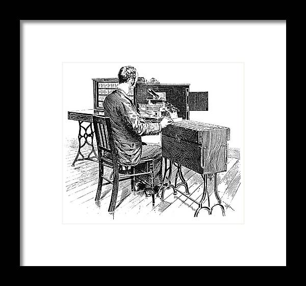 1890 Framed Print featuring the painting Census Machine, 1890 by Granger