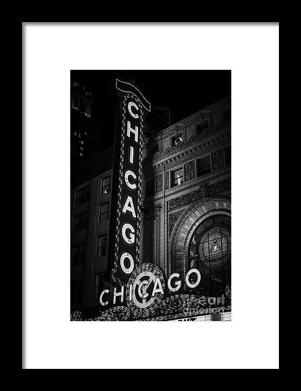 America Framed Print featuring the photograph Chicago Theatre Sign in Black and White by Paul Velgos