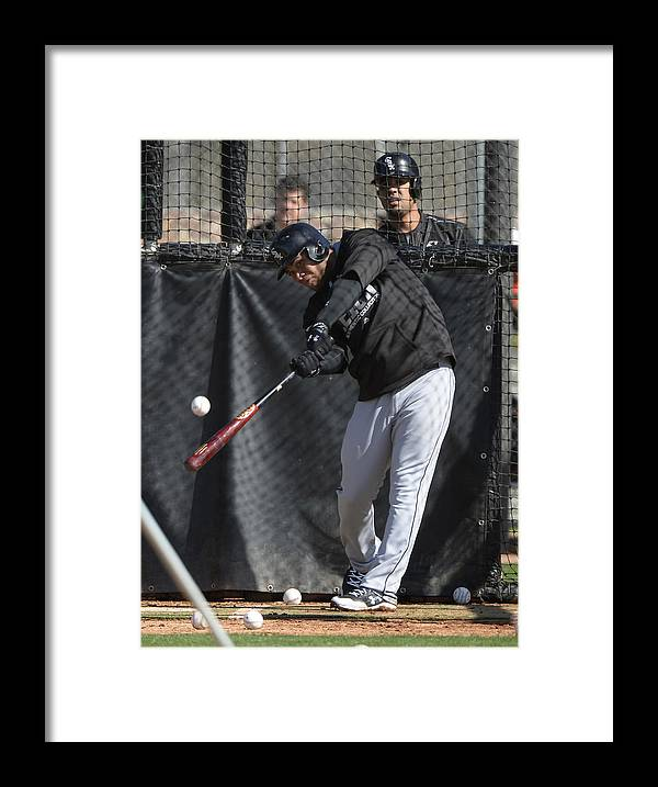 American League Baseball Framed Print featuring the photograph Chicago White Sox Workout by Ron Vesely