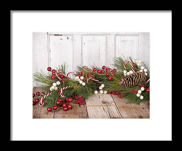 Background Framed Print featuring the photograph Christmas Berries On Wooden Background by Jennifer Huls