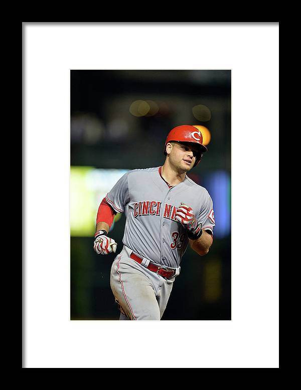 Ninth Inning Framed Print featuring the photograph Cincinnati Reds V Chicago Cubs by Brian Kersey