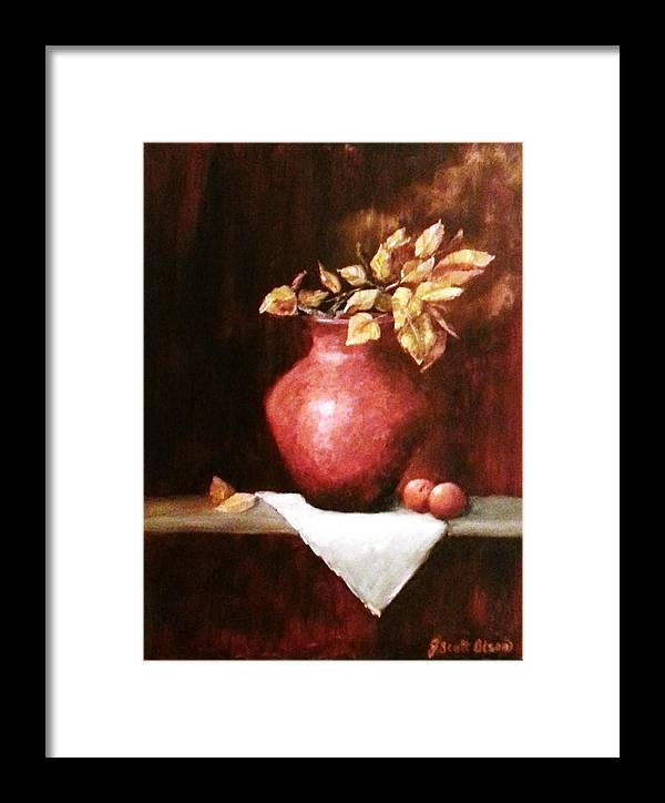 Red Framed Print featuring the painting Clay Vessel And Peaches by Jody Scott Olson
