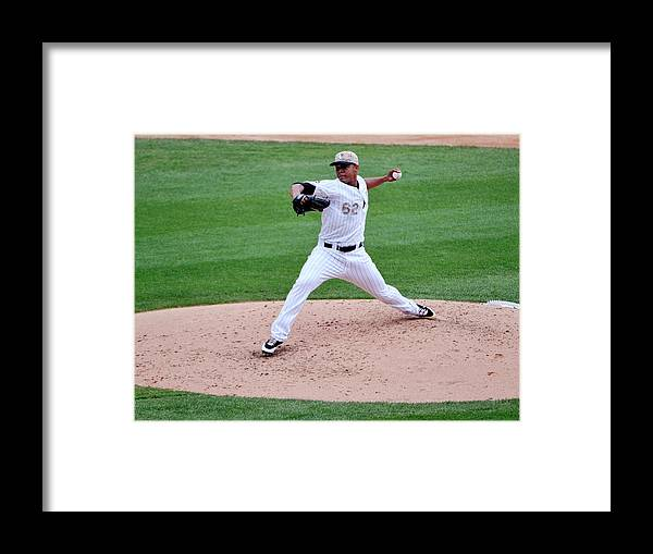 American League Baseball Framed Print featuring the photograph Cleveland Indians V Chicago White Sox by David Banks