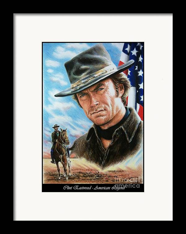 Patriotic Framed Print featuring the painting Clint Eastwood American Legend by Andrew Read