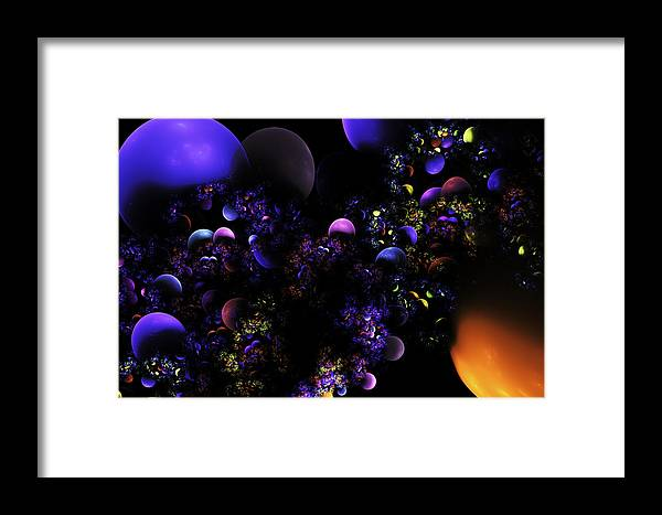Blue Framed Print featuring the digital art Computer Generated Spheres Abstract Fractal Flame by Keith Webber Jr