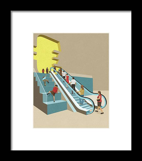 Access Framed Print featuring the photograph Contrast Between People With Easy by Ikon Images