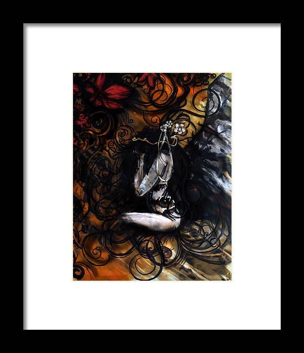 Dark Angel Framed Print featuring the digital art Dark Angel by Jakub DK