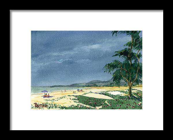 Beach Day Framed Print featuring the painting Dark Sky by Ray Cole