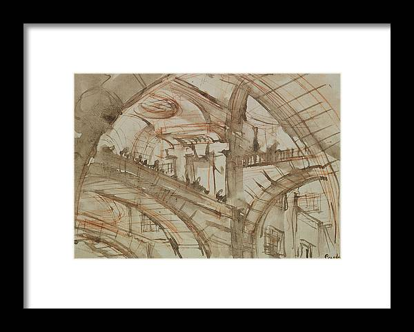 Gaol; Jail; Carceri D'invenzione; Fictive; Fantastic; Vaulted; Interior Framed Print featuring the drawing Drawing Of An Imaginary Prison by Giovanni Battista Piranesi