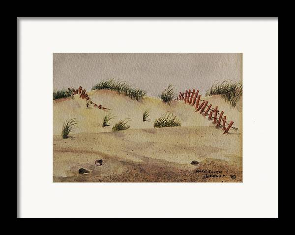 Sand Framed Print featuring the painting Dunes by Mary Ellen Mueller Legault