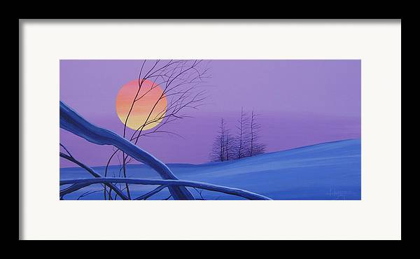 Mountains Framed Print featuring the painting Silent Snow by Hunter Jay