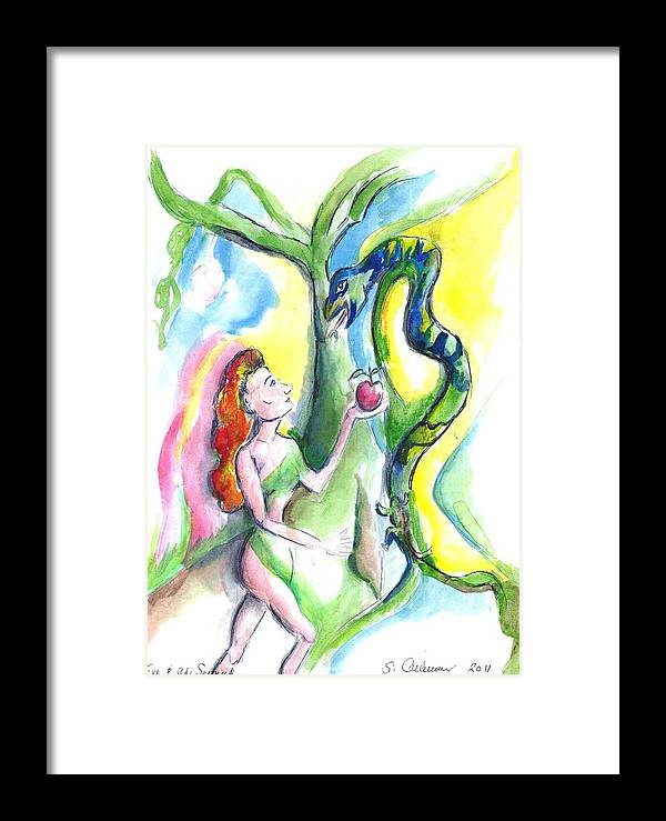 Eve Framed Print featuring the painting Eve And The Serpent by Suzanne Ackerman