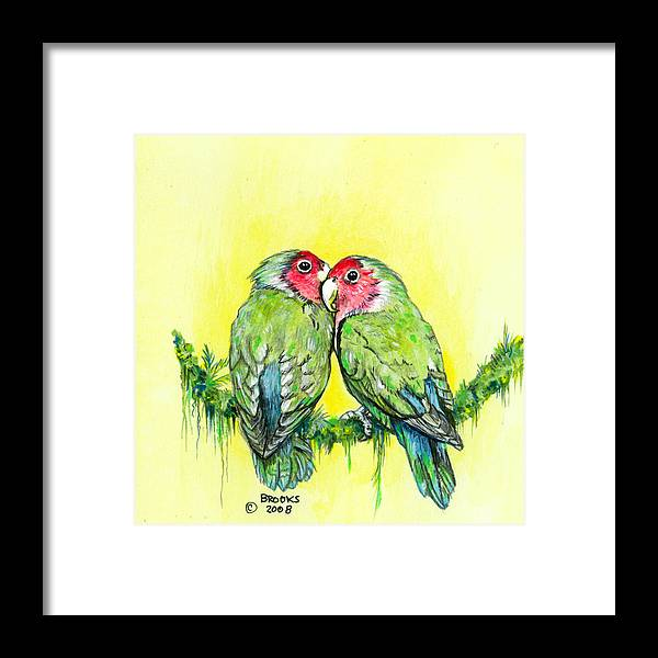 Lovebird Framed Print featuring the painting Everything is Just Peachy by Richard Brooks