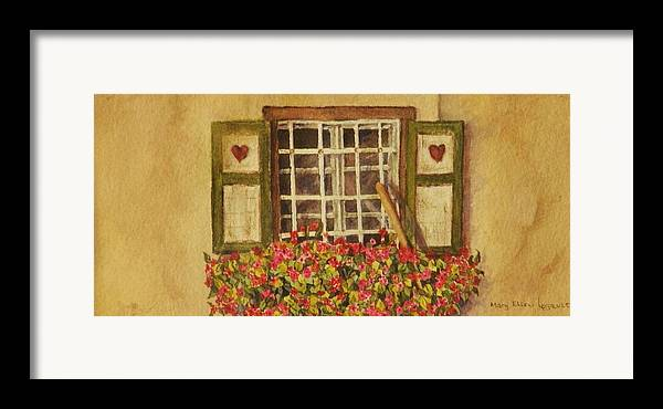 Rural Framed Print featuring the painting Farm Window by Mary Ellen Mueller Legault