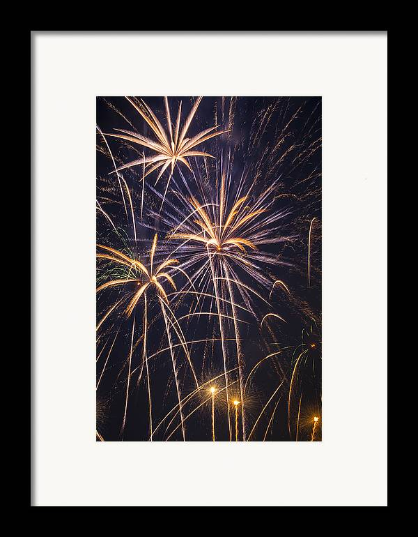 Fireworks Lights Up The Darkness Framed Print featuring the photograph Fireworks Celebration by Garry Gay