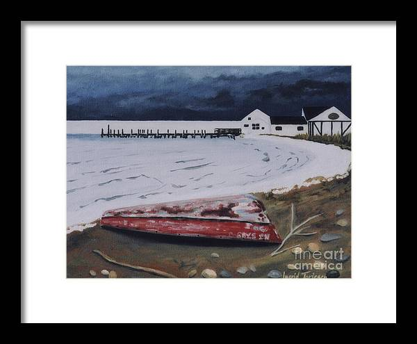 Duryea's Framed Print featuring the painting Frozen Bay by Ingrid Torjesen
