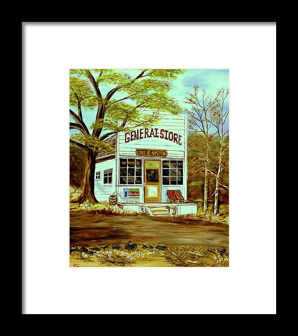 Landscape Framed Print featuring the painting General Store 1902 by Kenneth LePoidevin