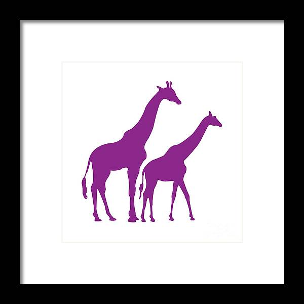 Graphic Art Framed Print featuring the digital art Giraffe In Purple And White by Jackie Farnsworth