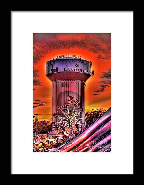 Glowing Framed Print featuring the photograph Glowing Water Tower by Jim Lepard
