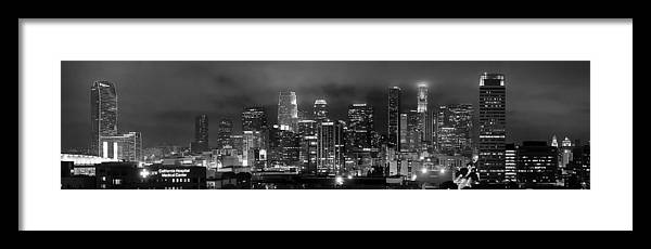 Los Angeles Skyline Framed Print featuring the photograph Gotham City - Los Angeles Skyline Downtown At Night by Jon Holiday