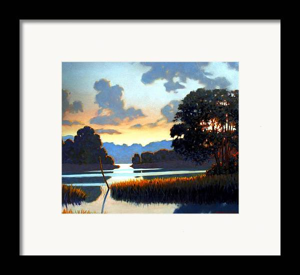 Landscape Framed Print featuring the painting Grassy Point by Kevin Lawrence Leveque