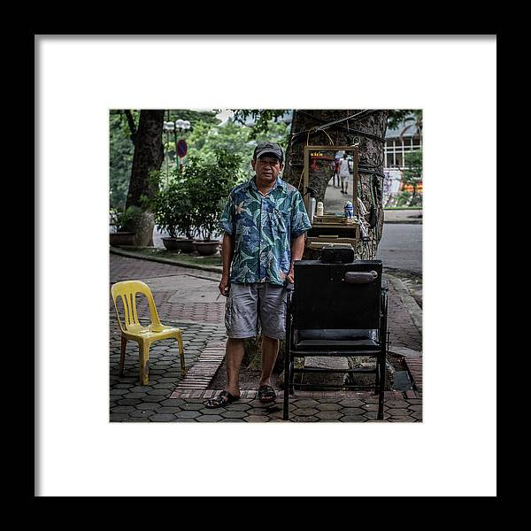 Square Framed Print featuring the photograph Hanois Street Style Barbers by Chris Mcgrath