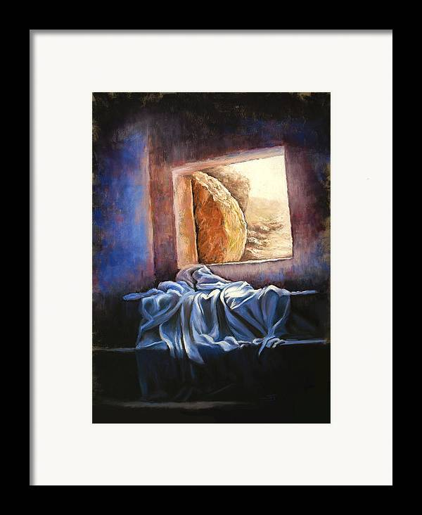 Christian Framed Print featuring the pastel He Is Risen by Susan Jenkins